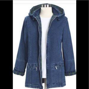 Plaid Lined Jean Jacket w/ Hood